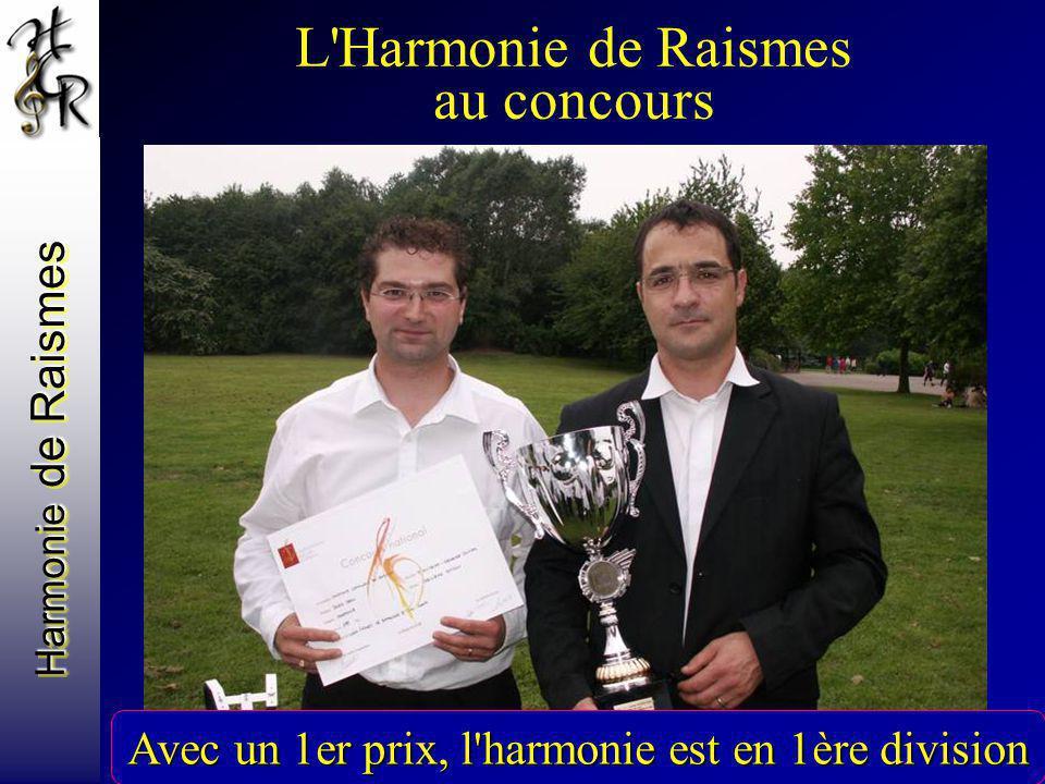 Harmonie de Raismes L'Harmonie de Raismes au concours Avec un 1er prix, l'harmonie est en 1ère division