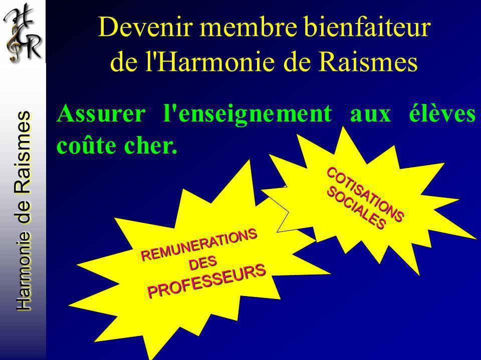Harmonie de Raismes Devenir membre bienfaiteur de l'Harmonie de Raismes Assurer l'enseignement aux élèves coûte cher. REMUNERATIONS DES PROFESSEURS CO