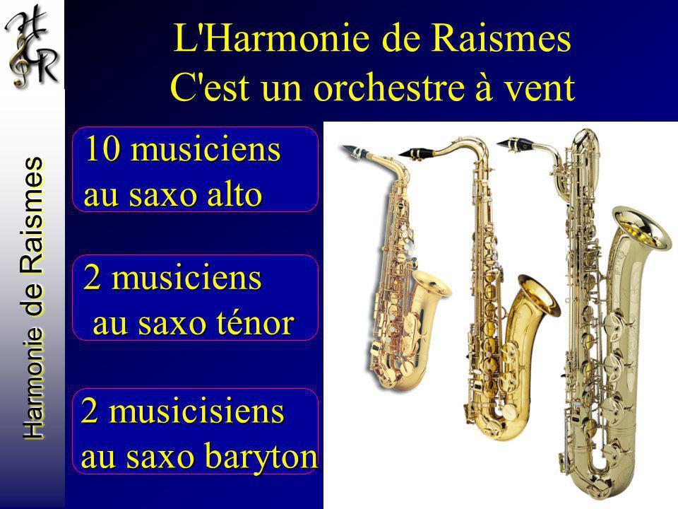 Harmonie de Raismes L'Harmonie de Raismes C'est un orchestre à vent 10 musiciens au saxo alto 2 musiciens au saxo ténor au saxo ténor 2 musicisiens au
