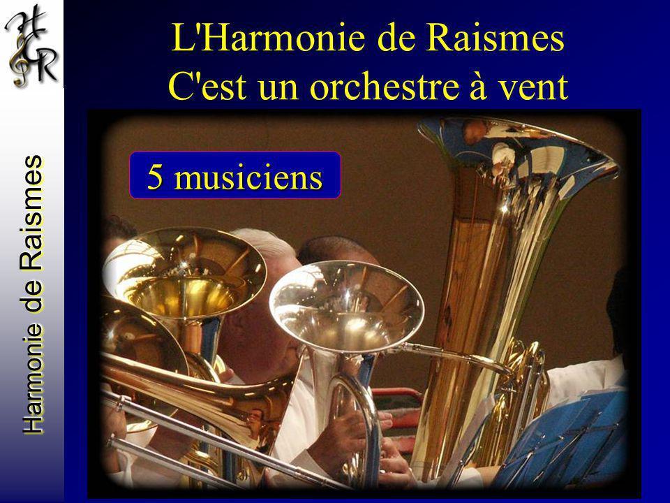 Harmonie de Raismes L'Harmonie de Raismes C'est un orchestre à vent Avec des basses des barytons des contrebasses une guitare basse 5 musiciens