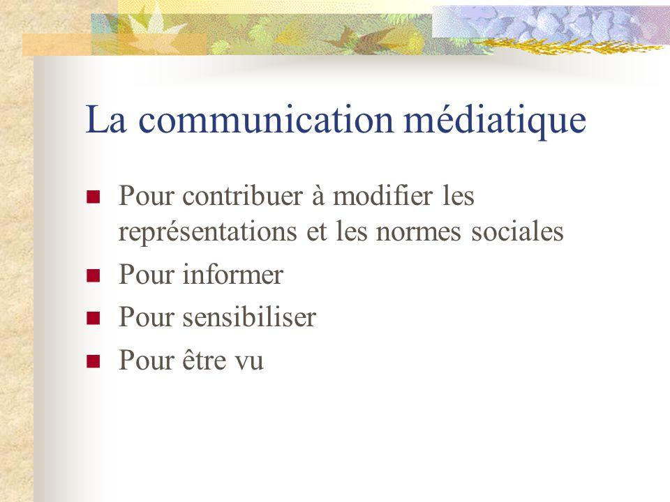 La communication médiatique Pour contribuer à modifier les représentations et les normes sociales Pour informer Pour sensibiliser Pour être vu