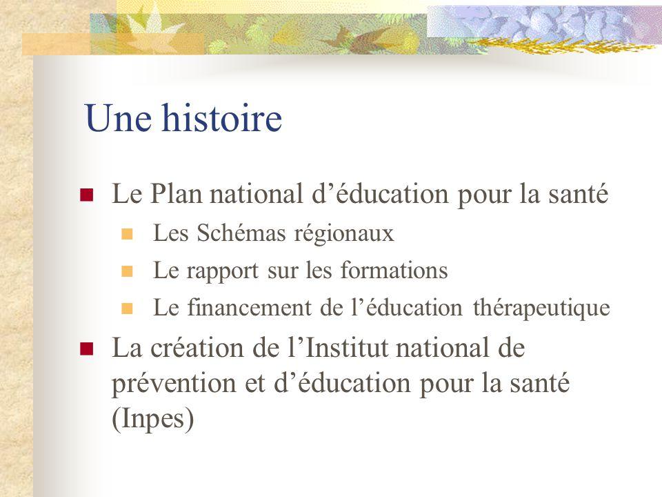 Une histoire Le Plan national déducation pour la santé Les Schémas régionaux Le rapport sur les formations Le financement de léducation thérapeutique La création de lInstitut national de prévention et déducation pour la santé (Inpes)