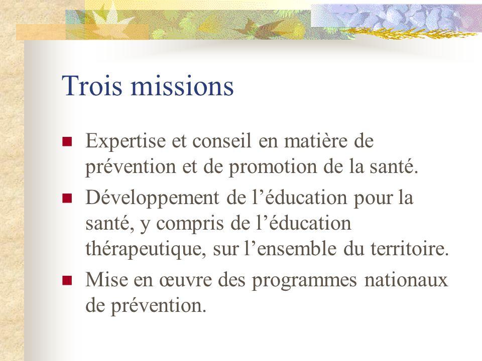 Trois missions Expertise et conseil en matière de prévention et de promotion de la santé.