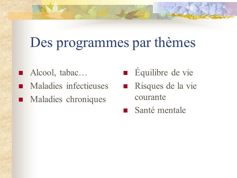 Des programmes par thèmes Alcool, tabac… Maladies infectieuses Maladies chroniques Équilibre de vie Risques de la vie courante Santé mentale