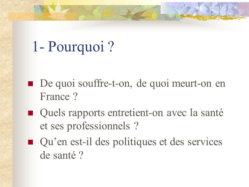 1- Pourquoi . De quoi souffre-t-on, de quoi meurt-on en France .
