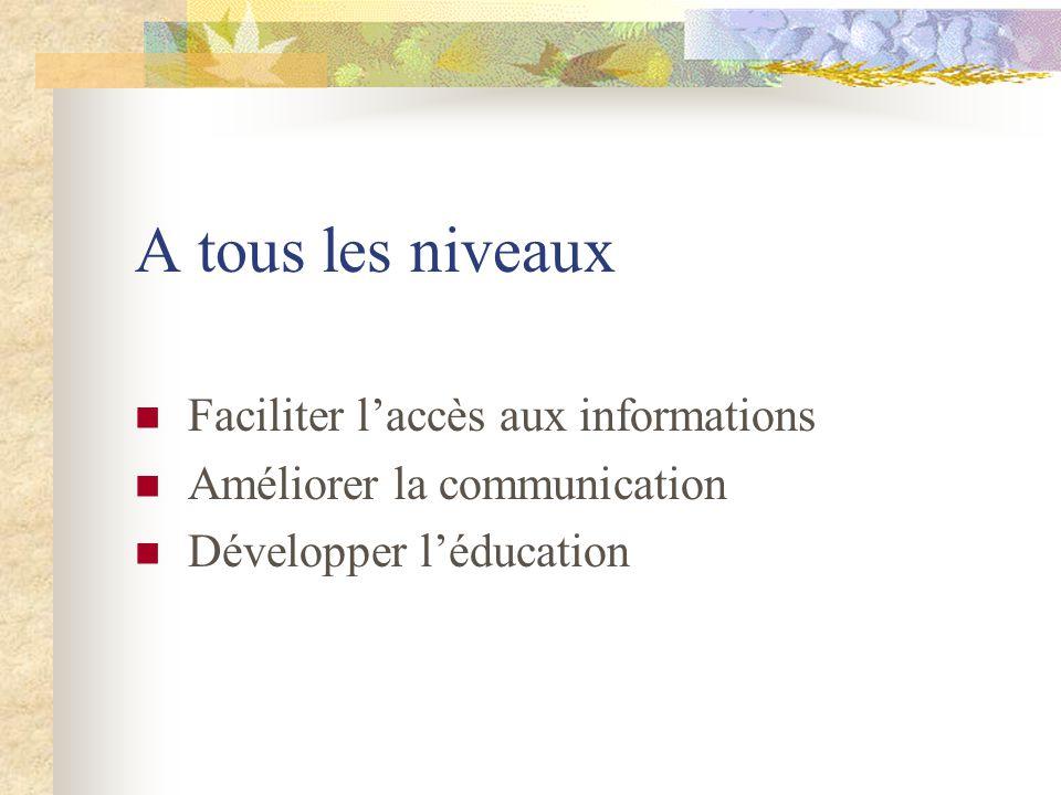 A tous les niveaux Faciliter laccès aux informations Améliorer la communication Développer léducation