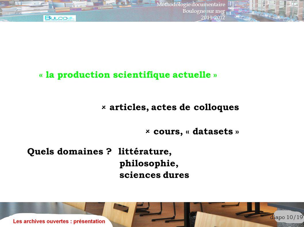diapo 10/19 « la production scientifique actuelle » articles, actes de colloques cours, « datasets » Quels domaines ? littérature, philosophie, scienc