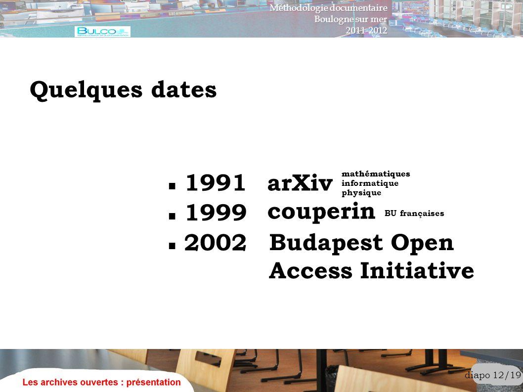 diapo 12/19 Quelques dates 1991arXiv 1999 couperin BU françaises 2002 Budapest Open Access Initiative mathématiques informatique mathématiques physiqu