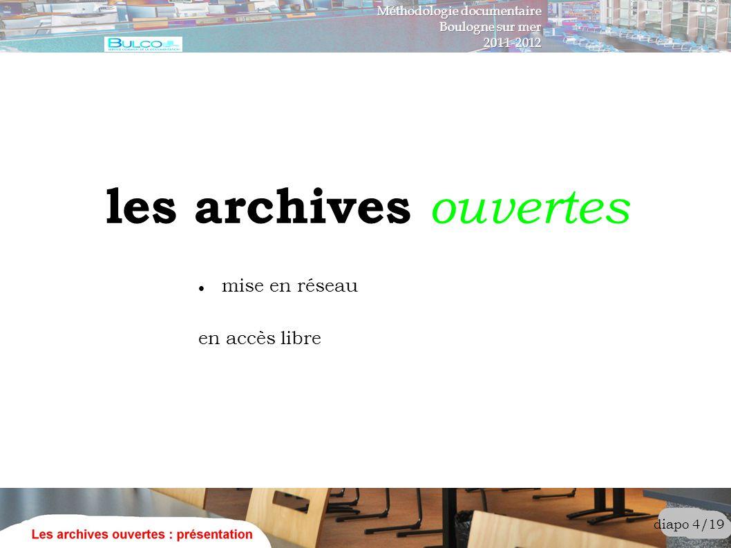 les archives ouvertes diapo 4/19 mise en réseau en accès libre