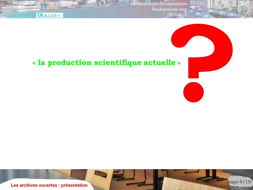 diapo 10/19 « la production scientifique actuelle » articles, actes de colloques cours, « datasets » Quels domaines .