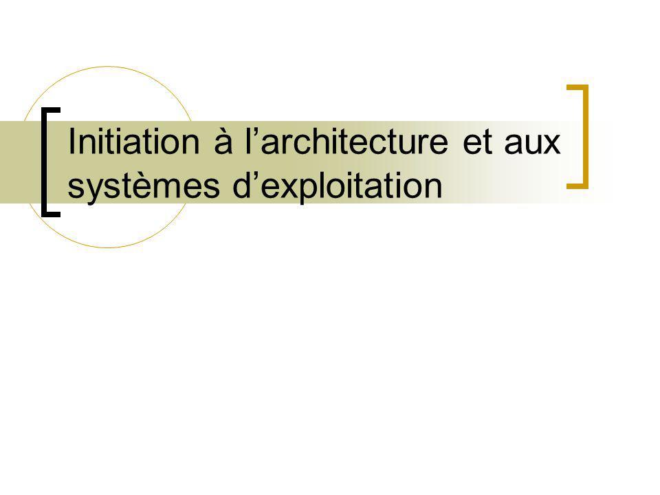 Initiation à larchitecture et aux systèmes dexploitation