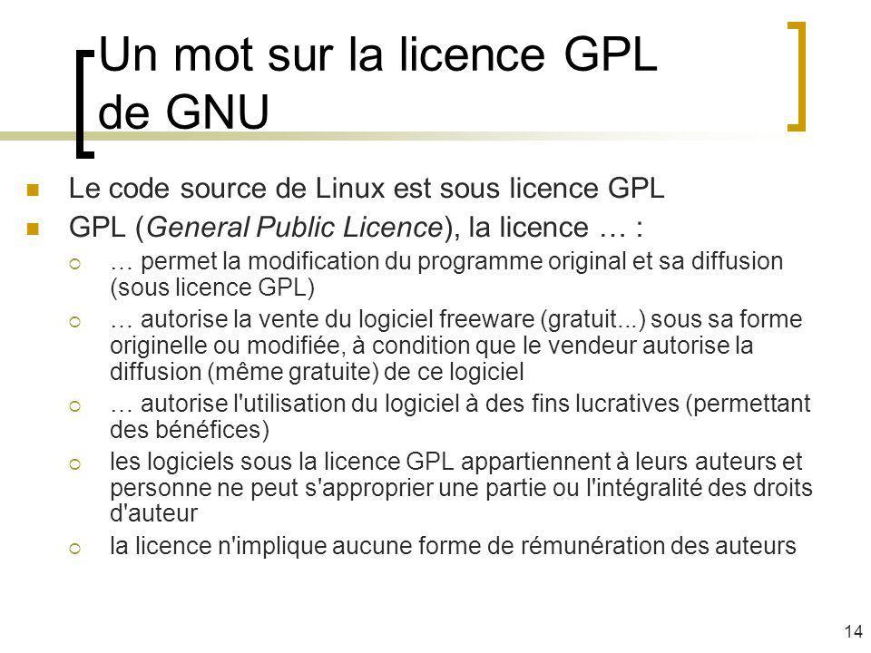 Un mot sur la licence GPL de GNU Le code source de Linux est sous licence GPL GPL (General Public Licence), la licence … : … permet la modification du