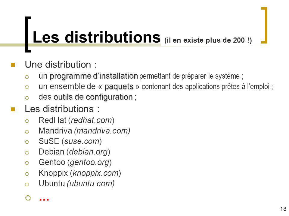 Les distributions Une distribution : programme dinstallation un programme dinstallation permettant de préparer le système ; paquets un ensemble de « p