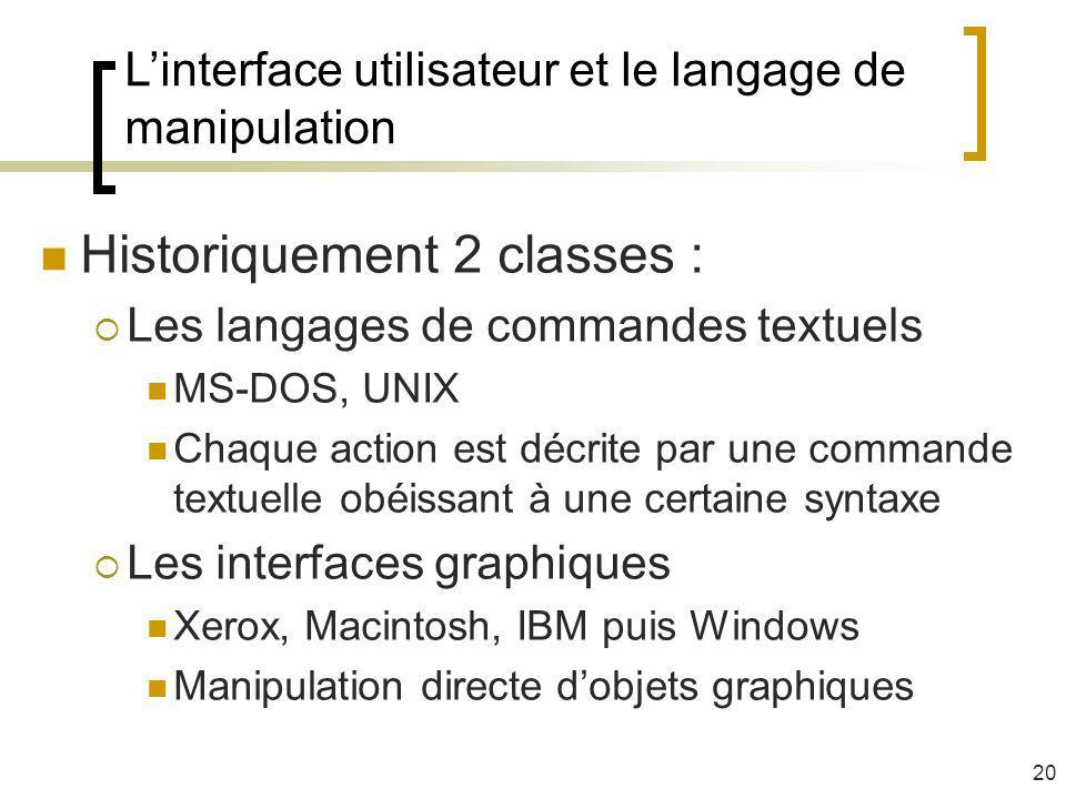 Linterface utilisateur et le langage de manipulation Historiquement 2 classes : Les langages de commandes textuels MS-DOS, UNIX Chaque action est décr