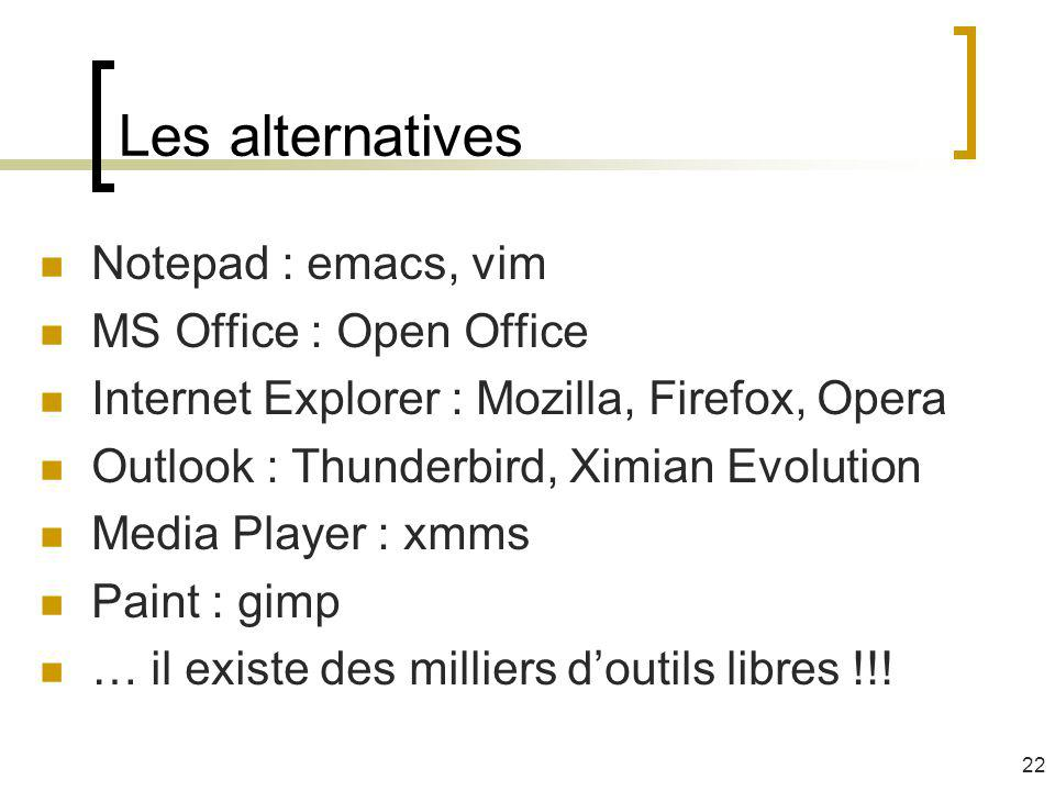 Les alternatives Notepad : emacs, vim MS Office : Open Office Internet Explorer : Mozilla, Firefox, Opera Outlook : Thunderbird, Ximian Evolution Media Player : xmms Paint : gimp … il existe des milliers doutils libres !!.