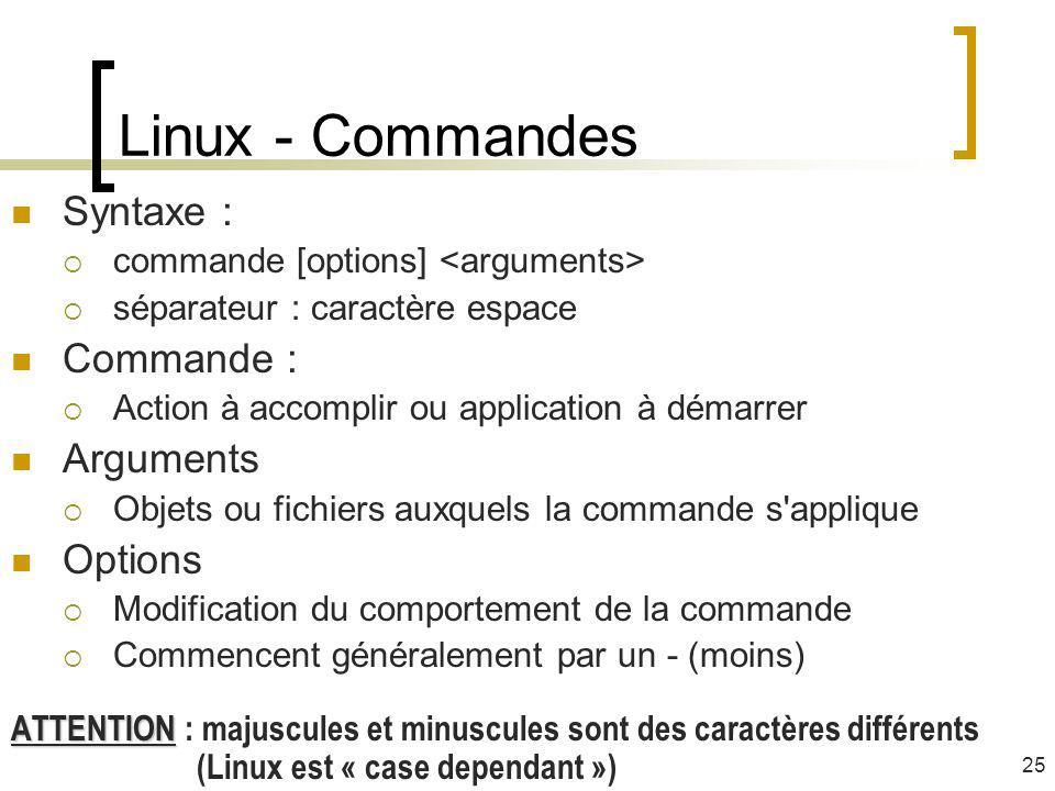 Linux - Commandes Syntaxe : commande [options] séparateur : caractère espace Commande : Action à accomplir ou application à démarrer Arguments Objets