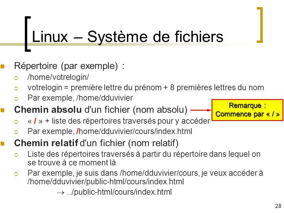 Linux – Système de fichiers Répertoire (par exemple) : /home/votrelogin/ votrelogin = première lettre du prénom + 8 premières lettres du nom Par exemp