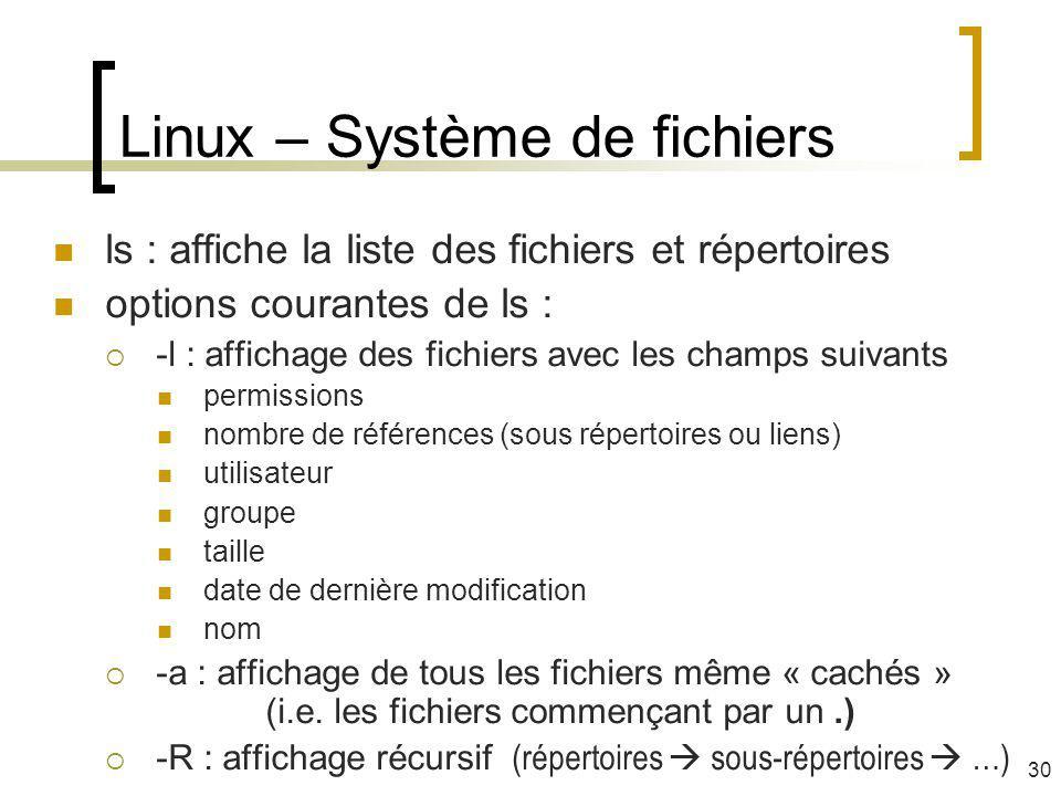Linux – Système de fichiers ls : affiche la liste des fichiers et répertoires options courantes de ls : -l : affichage des fichiers avec les champs su
