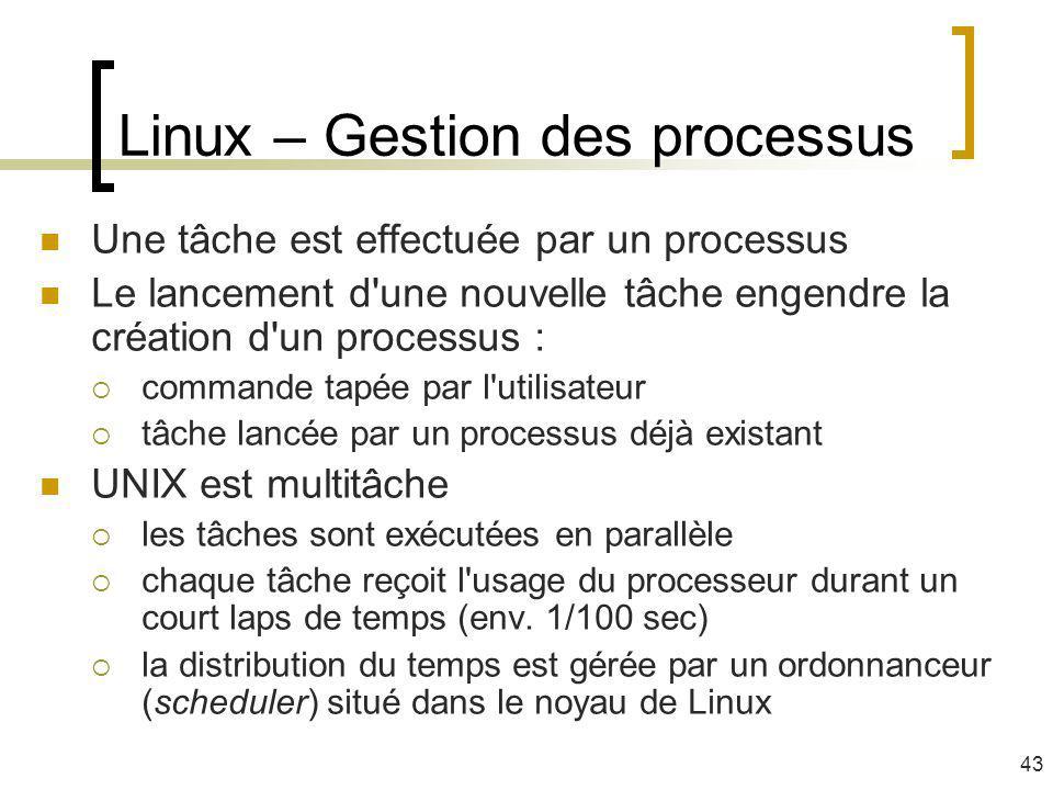 Linux – Gestion des processus Une tâche est effectuée par un processus Le lancement d'une nouvelle tâche engendre la création d'un processus : command