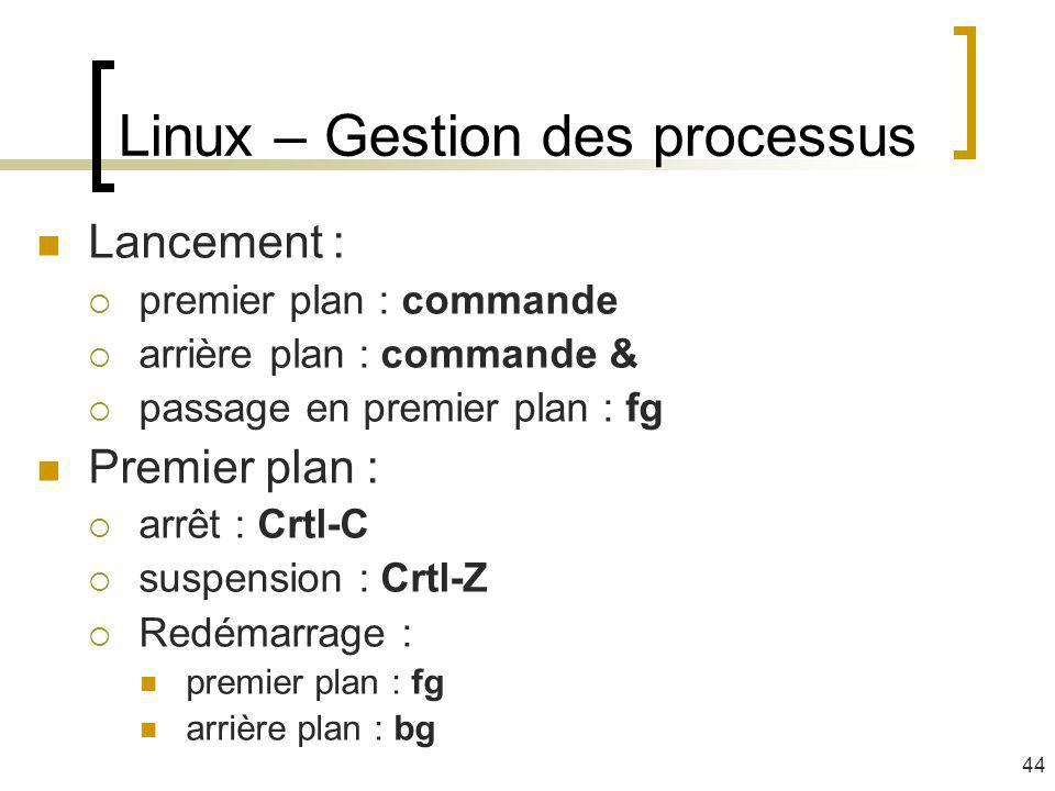 Lancement : premier plan : commande arrière plan : commande & passage en premier plan : fg Premier plan : arrêt : Crtl-C suspension : Crtl-Z Redémarra