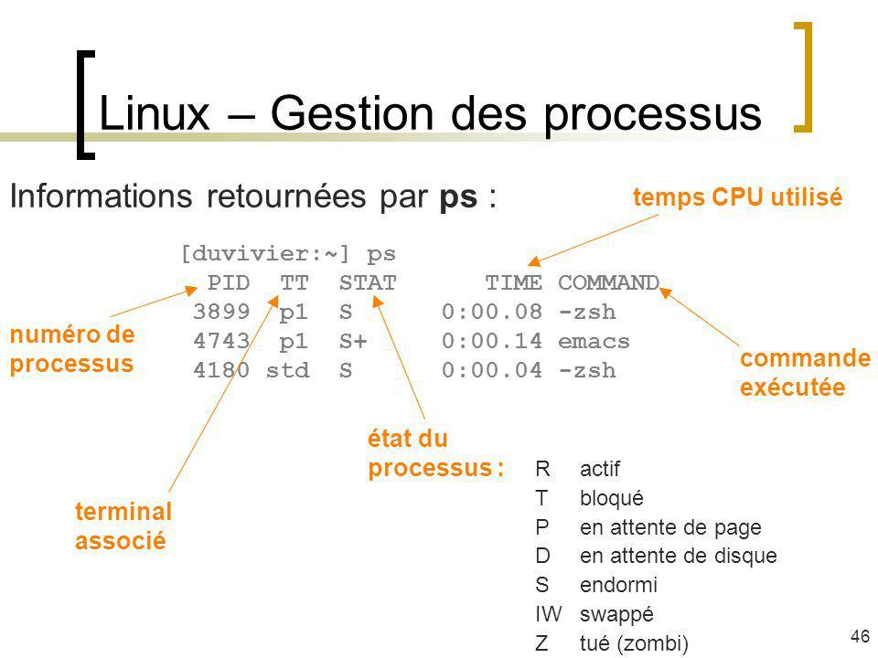 Linux – Gestion des processus 46 Informations retournées par ps : [duvivier:~] ps PID TT STAT TIME COMMAND 3899 p1 S 0:00.08 -zsh 4743 p1 S+ 0:00.14 e