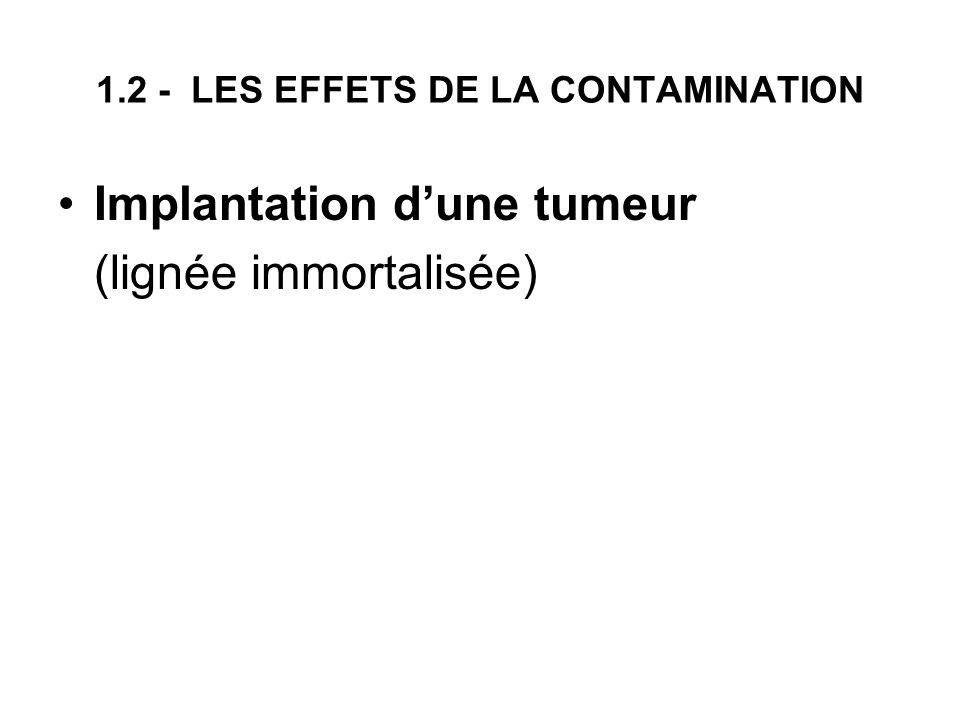 1.2 - LES EFFETS DE LA CONTAMINATION Implantation dune tumeur (lignée immortalisée)