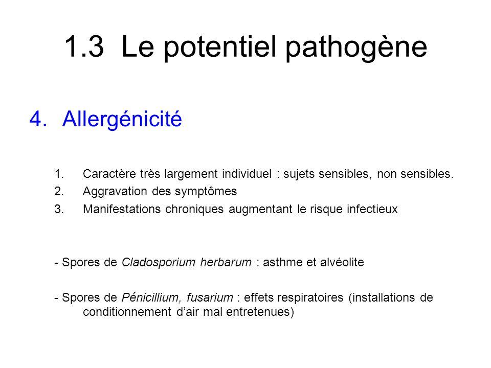 1.3 Le potentiel pathogène 4.Allergénicité 1.Caractère très largement individuel : sujets sensibles, non sensibles. 2.Aggravation des symptômes 3.Mani