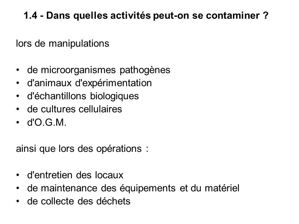1.4 - Dans quelles activités peut-on se contaminer ? lors de manipulations de microorganismes pathogènes d'animaux d'expérimentation d'échantillons bi