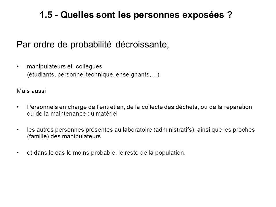 1.5 - Quelles sont les personnes exposées ? Par ordre de probabilité décroissante, manipulateurs et collègues (étudiants, personnel technique, enseign