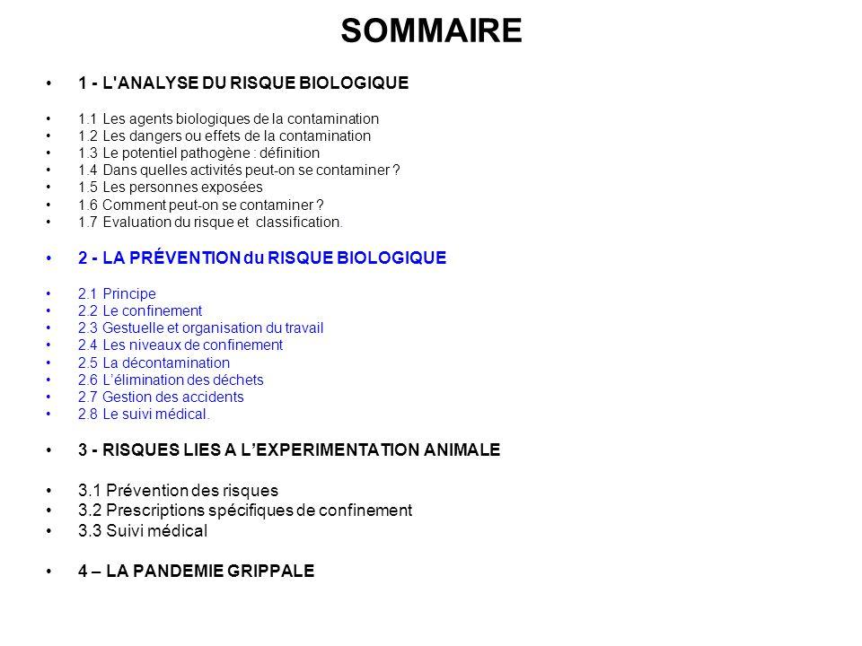 SOMMAIRE 1 - L'ANALYSE DU RISQUE BIOLOGIQUE 1.1 Les agents biologiques de la contamination 1.2 Les dangers ou effets de la contamination 1.3 Le potent