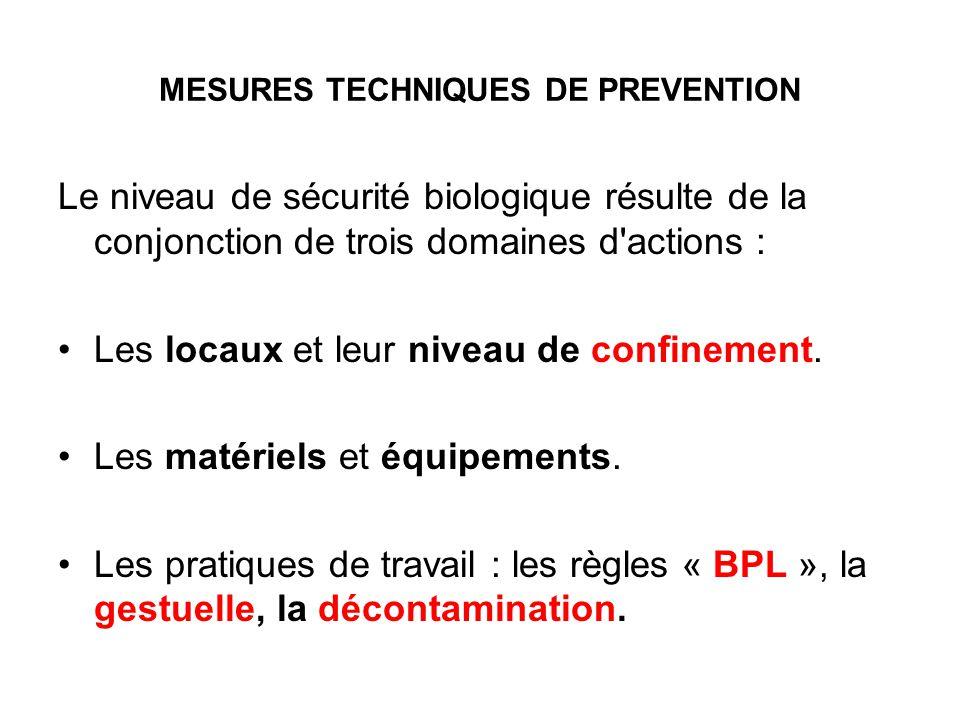 MESURES TECHNIQUES DE PREVENTION Le niveau de sécurité biologique résulte de la conjonction de trois domaines d'actions : Les locaux et leur niveau de