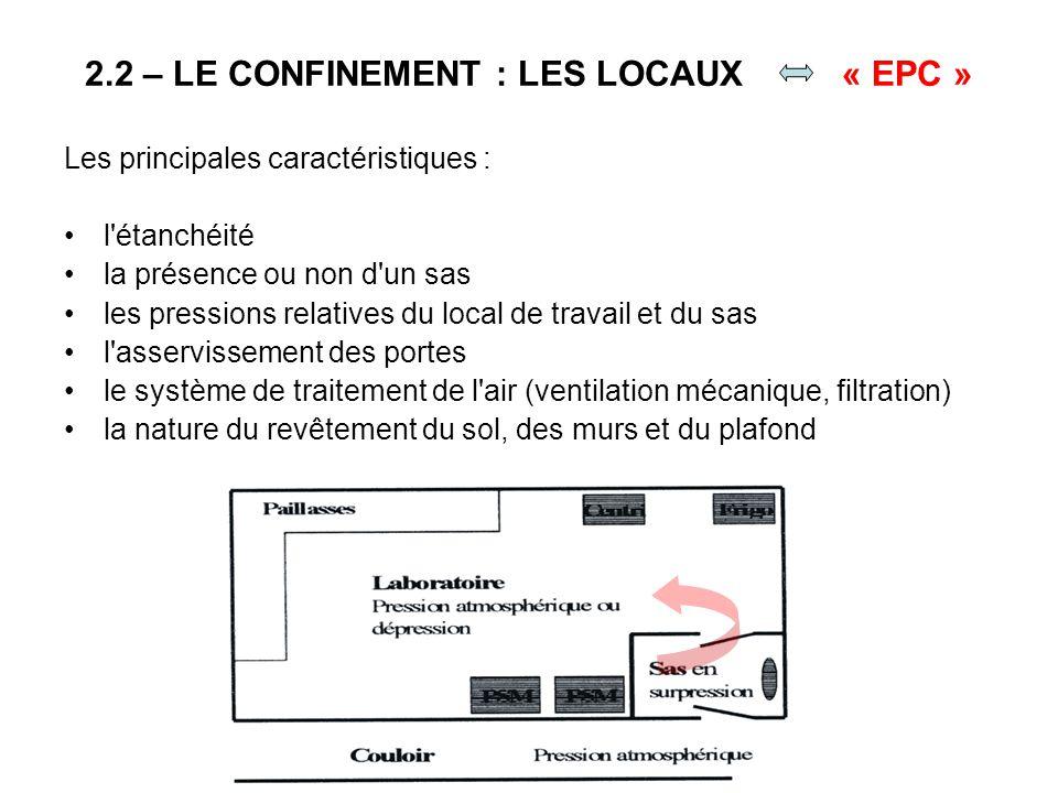 2.2 – LE CONFINEMENT : LES LOCAUX « EPC » Les principales caractéristiques : l'étanchéité la présence ou non d'un sas les pressions relatives du local