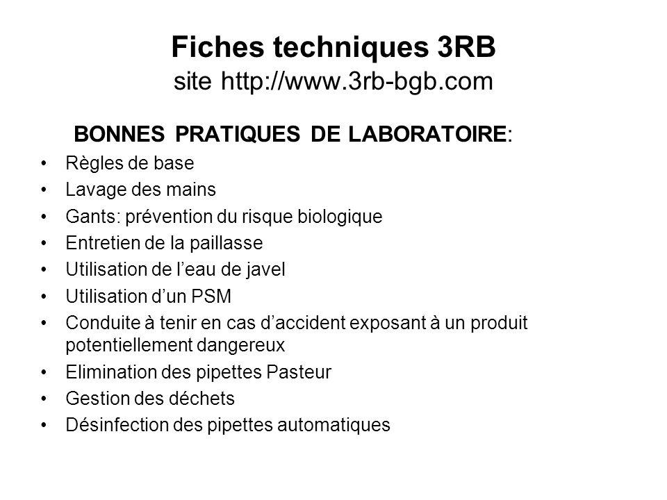 Fiches techniques 3RB site http://www.3rb-bgb.com BONNES PRATIQUES DE LABORATOIRE: Règles de base Lavage des mains Gants: prévention du risque biologi