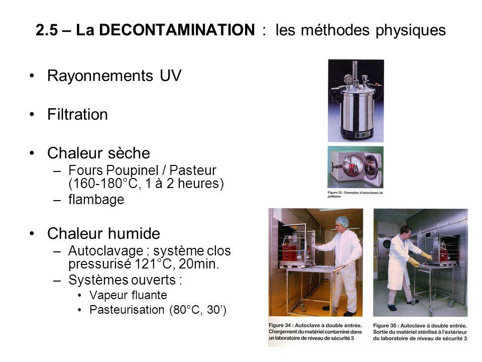 2.5 – La DECONTAMINATION : les méthodes physiques Rayonnements UV Filtration Chaleur sèche –Fours Poupinel / Pasteur (160-180°C, 1 à 2 heures) –flamba