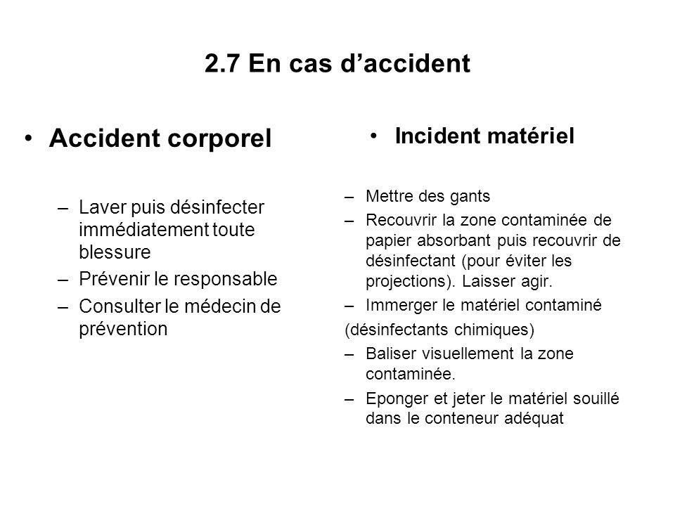 2.7 En cas daccident Accident corporel –Laver puis désinfecter immédiatement toute blessure –Prévenir le responsable –Consulter le médecin de préventi