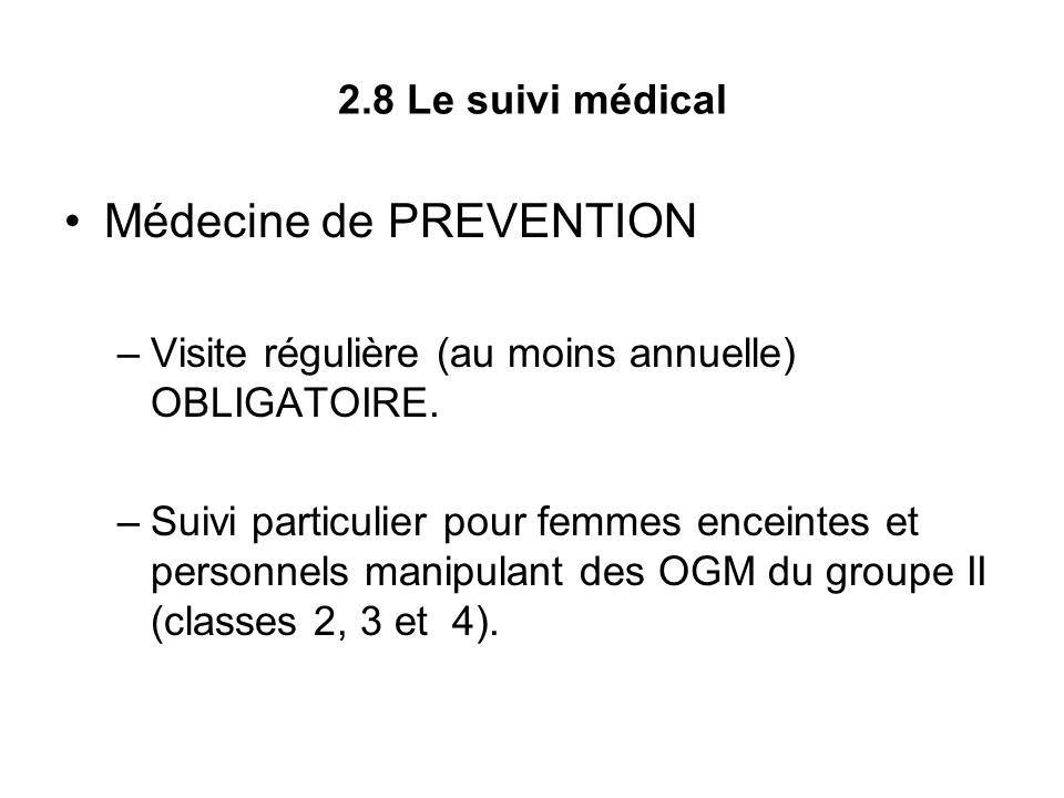 2.8 Le suivi médical Médecine de PREVENTION –Visite régulière (au moins annuelle) OBLIGATOIRE. –Suivi particulier pour femmes enceintes et personnels
