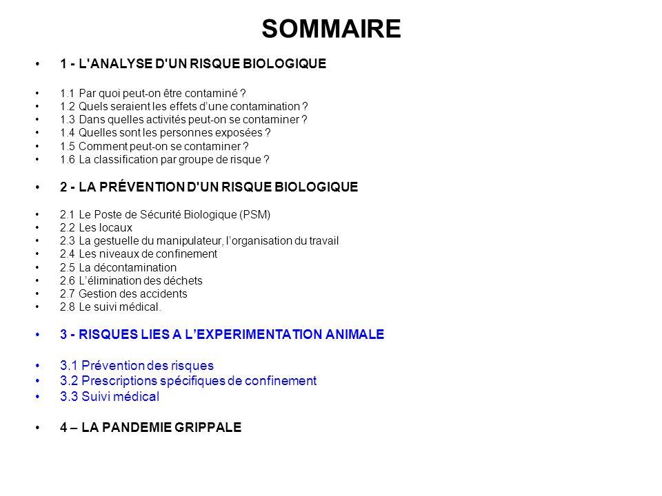 SOMMAIRE 1 - L'ANALYSE D'UN RISQUE BIOLOGIQUE 1.1 Par quoi peut-on être contaminé ? 1.2 Quels seraient les effets dune contamination ? 1.3 Dans quelle