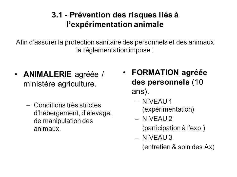 3.1 - Prévention des risques liés à lexpérimentation animale Afin dassurer la protection sanitaire des personnels et des animaux la réglementation imp