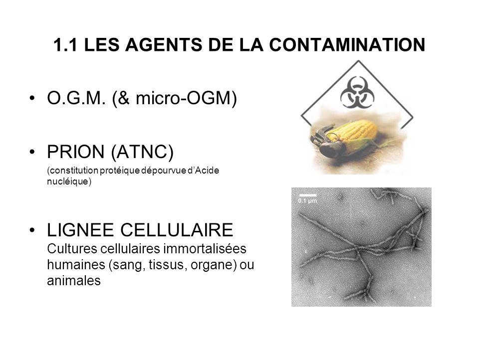 1.1 LES AGENTS DE LA CONTAMINATION O.G.M. (& micro-OGM) PRION (ATNC) (constitution protéique dépourvue dAcide nucléique) LIGNEE CELLULAIRE Cultures ce