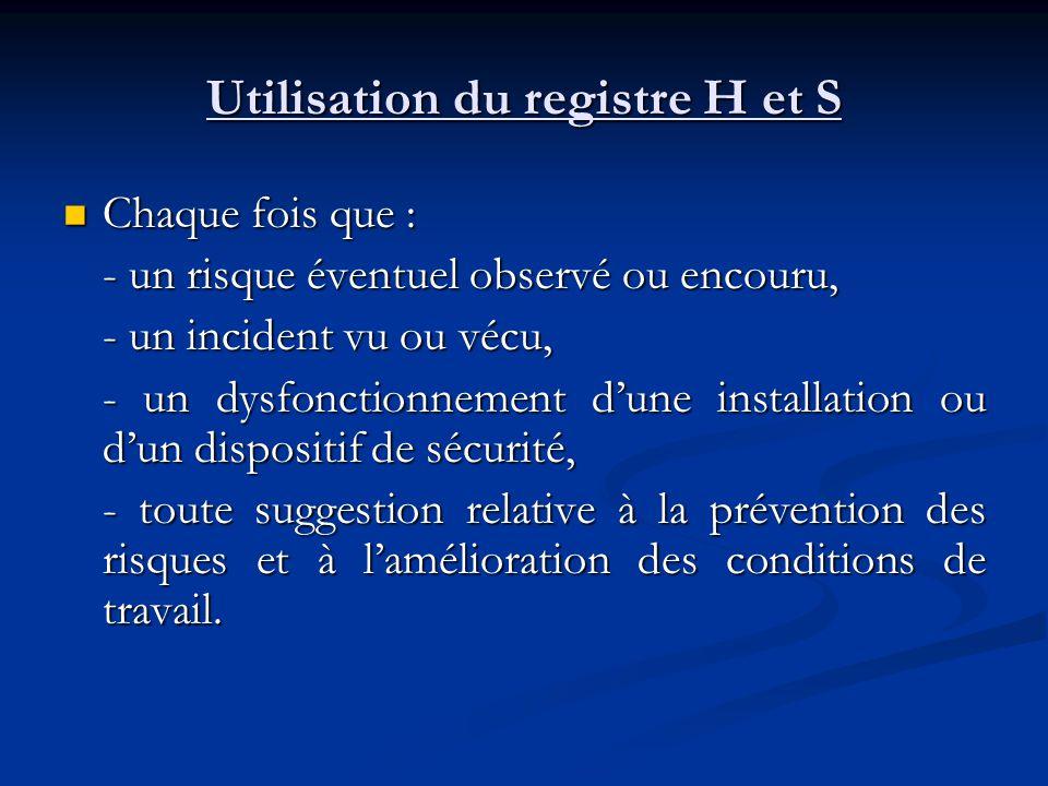 Utilisation du registre H et S Chaque fois que : Chaque fois que : - un risque éventuel observé ou encouru, - un incident vu ou vécu, - un dysfonction