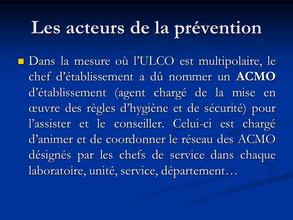 Les acteurs de la prévention Dans la mesure où lULCO est multipolaire, le chef détablissement a dû nommer un ACMO détablissement (agent chargé de la m