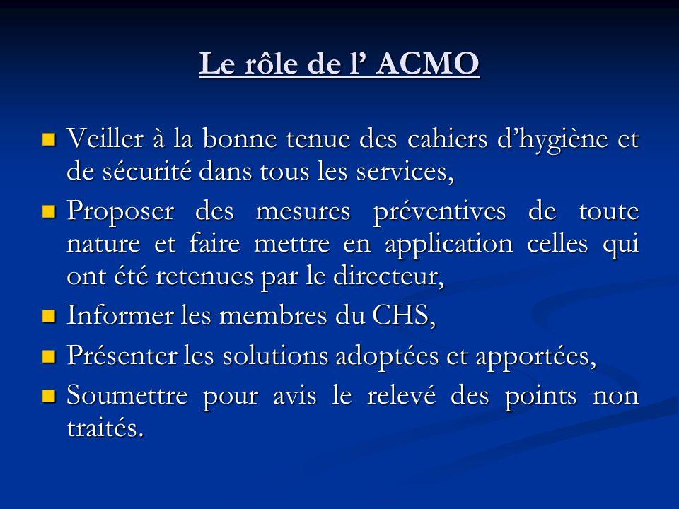 Le rôle de l ACMO Veiller à la bonne tenue des cahiers dhygiène et de sécurité dans tous les services, Veiller à la bonne tenue des cahiers dhygiène e