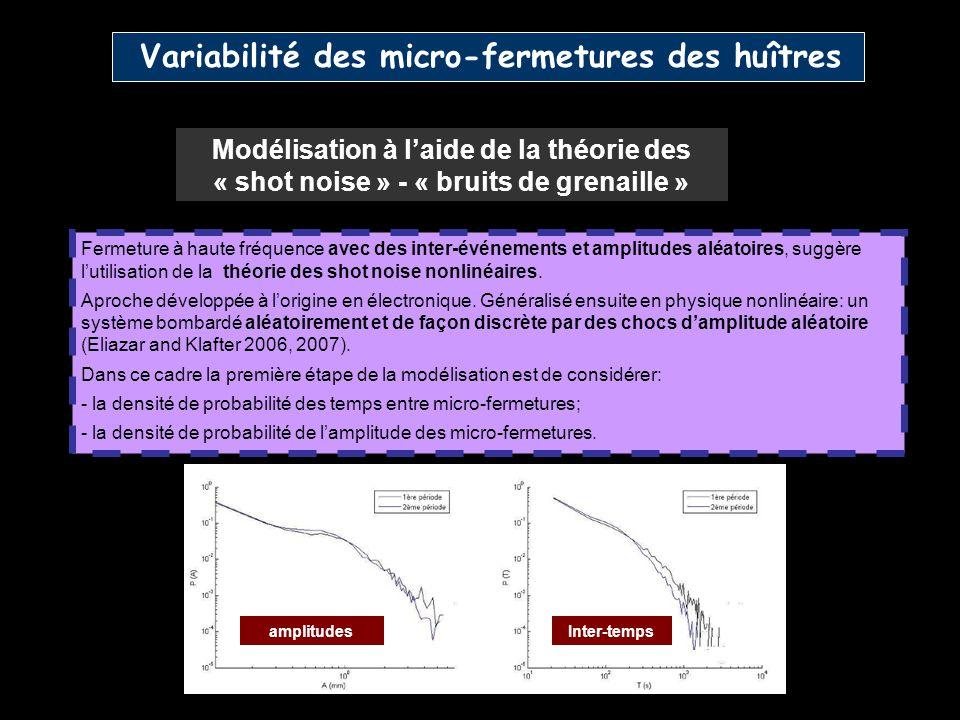 Variabilité des micro-fermetures des huîtres Fermeture à haute fréquence avec des inter-événements et amplitudes aléatoires, suggère lutilisation de l