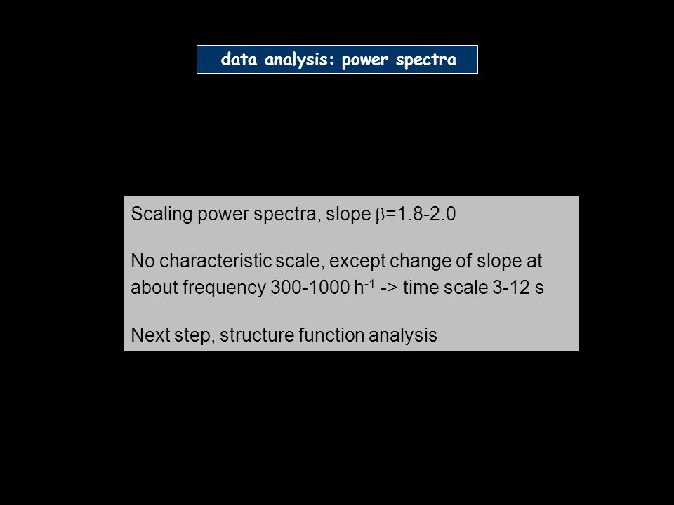 Scaling power spectra, slope =1.8-2.0 No characteristic scale, except change of slope at about frequency 300-1000 h -1 -> time scale 3-12 s Next step, structure function analysis