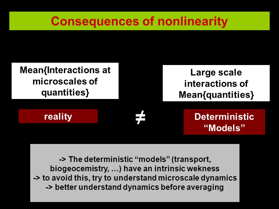 Consequences of nonlinearity reality DeterministicModels Mean{Interactions at microscales of quantities} Large scale interactions of Mean{quantities} -> The deterministic models (transport, biogeocemistry, …) have an intrinsic wekness -> to avoid this, try to understand microscale dynamics -> better understand dynamics before averaging