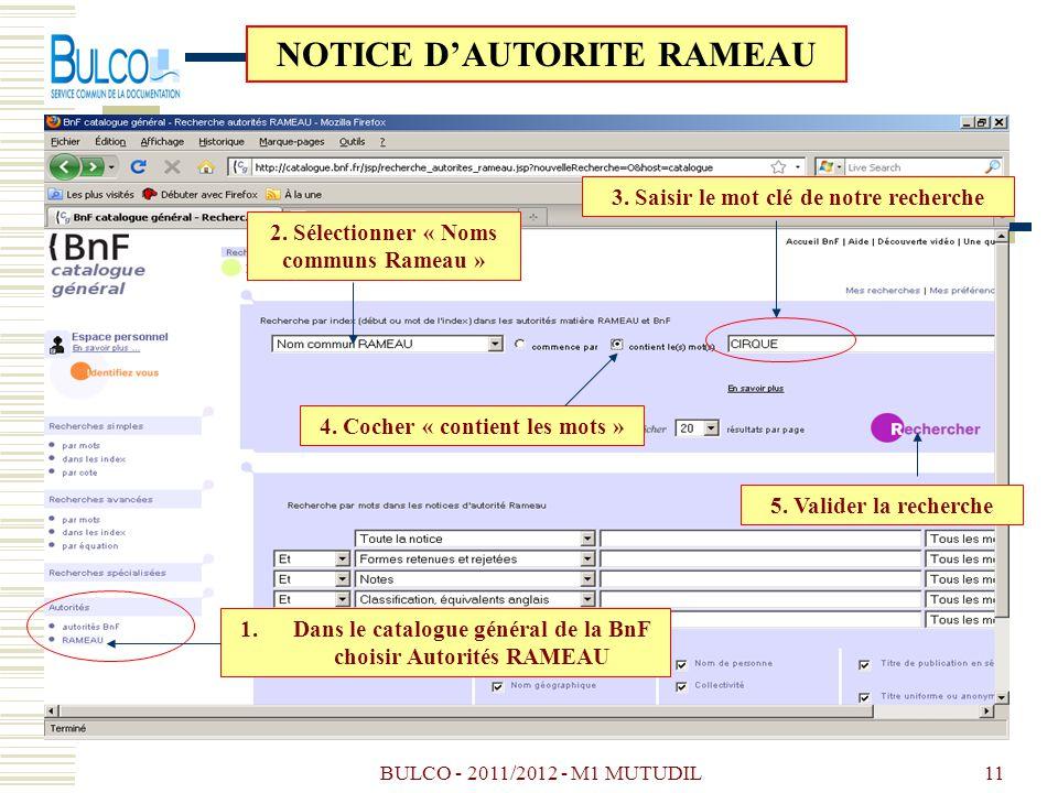 BULCO - 2011/2012 - M1 MUTUDIL11 3. Saisir le mot clé de notre recherche 4. Cocher « contient les mots » 1.Dans le catalogue général de la BnF choisir