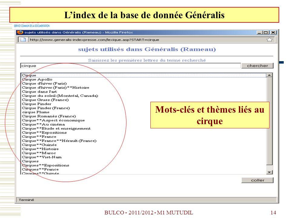 BULCO - 2011/2012 - M1 MUTUDIL14 Lindex de la base de donnée Généralis Mots-clés et thèmes liés au cirque