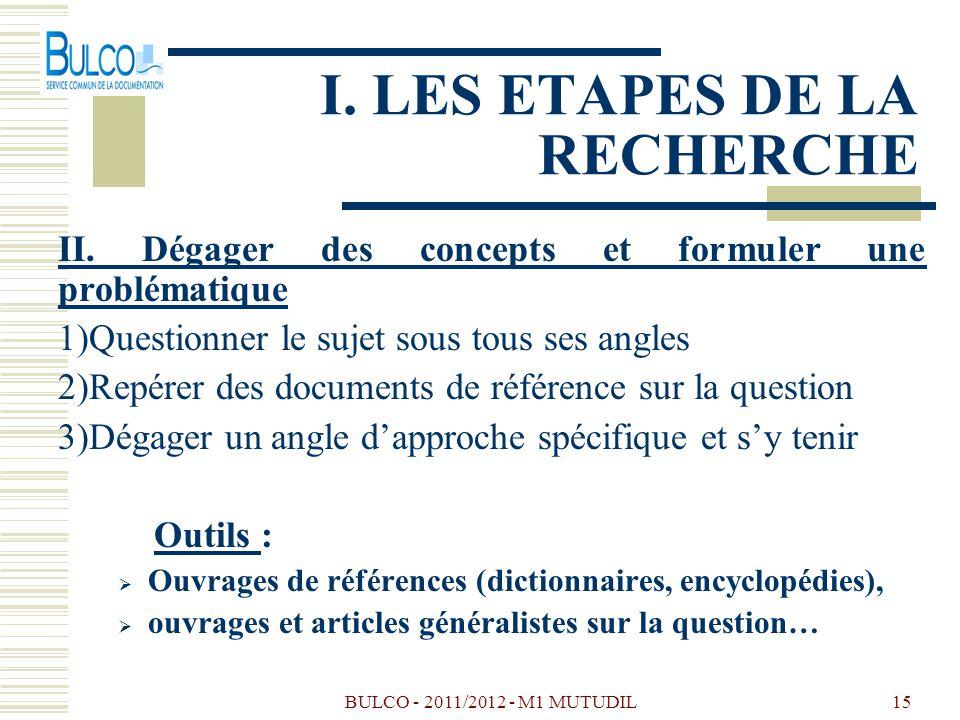 BULCO - 2011/2012 - M1 MUTUDIL15 I. LES ETAPES DE LA RECHERCHE II. Dégager des concepts et formuler une problématique 1)Questionner le sujet sous tous