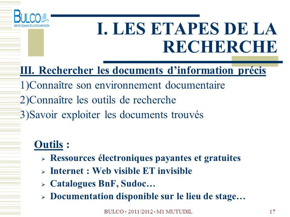 BULCO - 2011/2012 - M1 MUTUDIL17 I. LES ETAPES DE LA RECHERCHE III. Rechercher les documents dinformation précis 1)Connaître son environnement documen