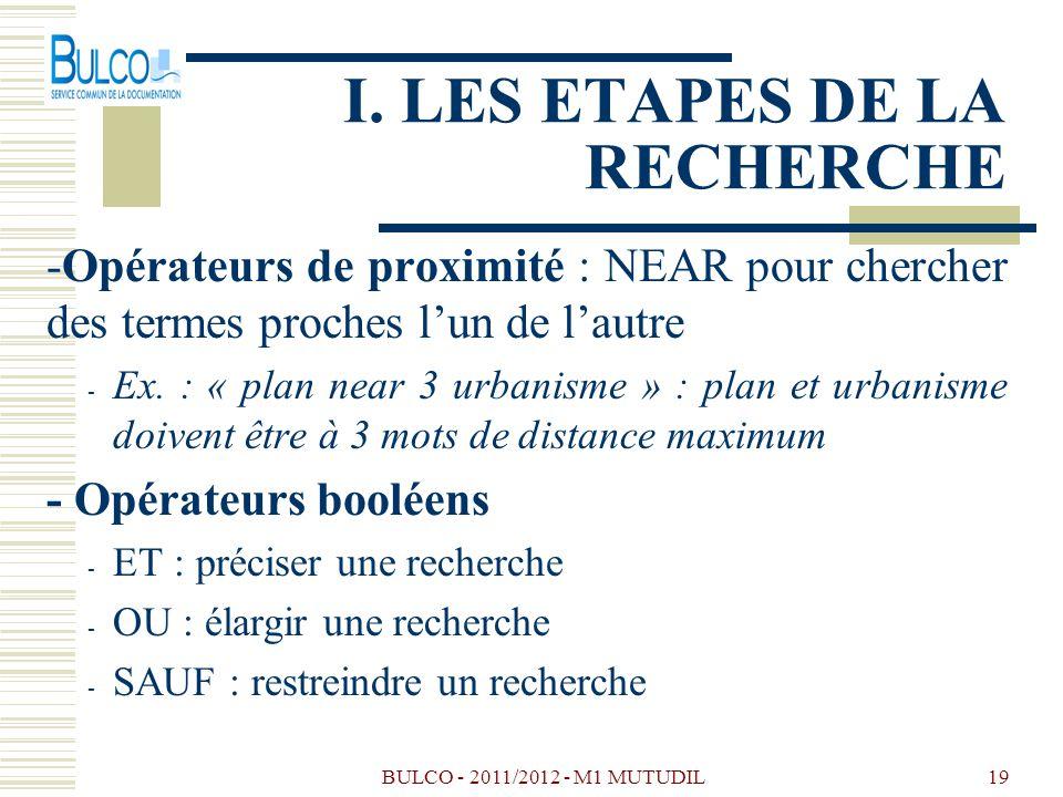 BULCO - 2011/2012 - M1 MUTUDIL19 I. LES ETAPES DE LA RECHERCHE -Opérateurs de proximité : NEAR pour chercher des termes proches lun de lautre - Ex. :